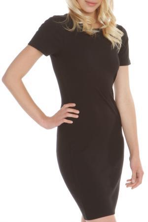 Прилегающее платье с коротким рукавом Double Zero. Цвет: black, черный