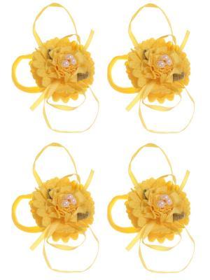 Бантики для волос на длинных резинках розочка 3 бусины, набор 2 по шт, желтые Радужки. Цвет: желтый