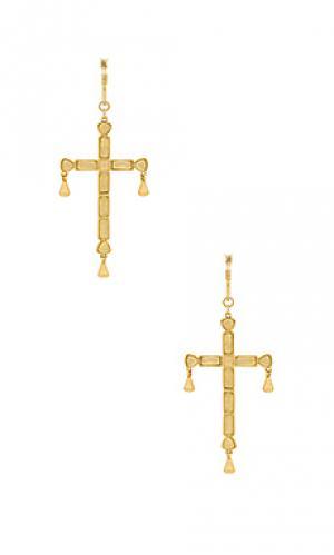 Серьги quartz cross Luv AJ. Цвет: металлический золотой