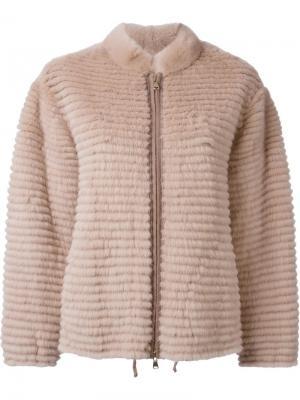 Меховая куртка на молнии Liska. Цвет: розовый и фиолетовый