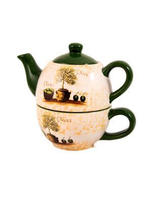 Набор чайный Олива: чайник, чашка Русские подарки. Цвет: бежевый, зеленый