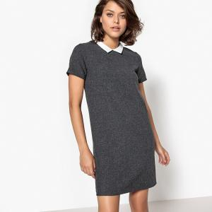 Платье до колен с короткими рукавами SCHOOL RAG. Цвет: серый