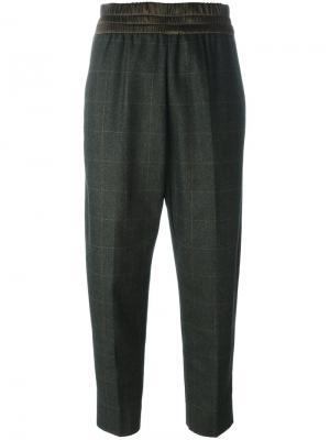 Укороченные брюки в клетку Antonio Marras. Цвет: зелёный