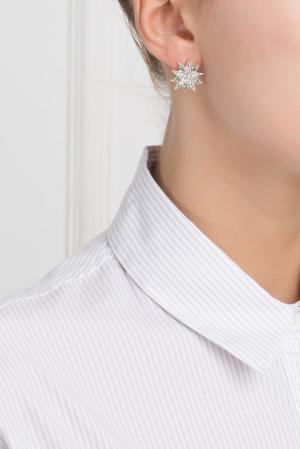 Серебряные серьги с цаворитами и бесцветными топазами «Зарина» Axenoff Jewellery. Цвет: серебряный, зеленый