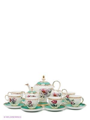 Чайный сервиз на 6 персон Цветок Неаполя Pavone. Цвет: бирюзовый, белый
