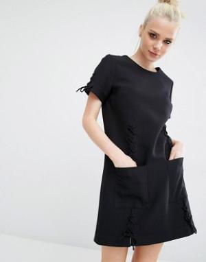 Kendall + Kylie Платье со шнуровками и короткими рукавами. Цвет: черный