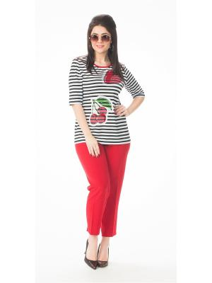 Блузка Amelia Lux. Цвет: черный, белый, красный