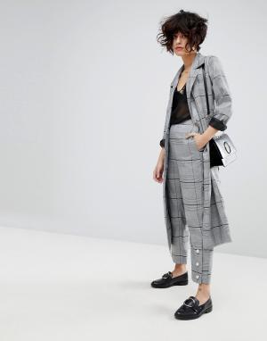 J.O.A Укороченные строгие брюки от комплекта с отделкой искусственным жемчуг. Цвет: серый