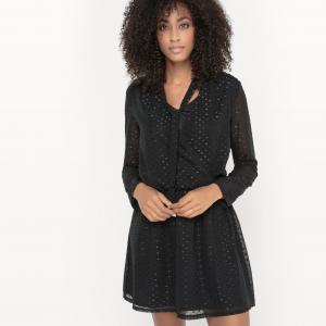 Платье с длинными рукавами VIPETRAS DRESS VILA. Цвет: черный