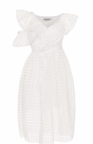 Кружевное платье-миди асимметричного кроя self-portrait. Цвет: белый