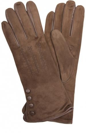 Замшевые перчатки с отделкой из кожи Sermoneta Gloves. Цвет: бежевый