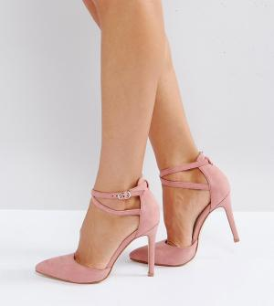 Truffle Collection Туфли на каблуке для широкой стопы с бантиками. Цвет: розовый