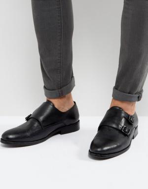 AllSaints Кожаные туфли-монки с ремешками. Цвет: черный