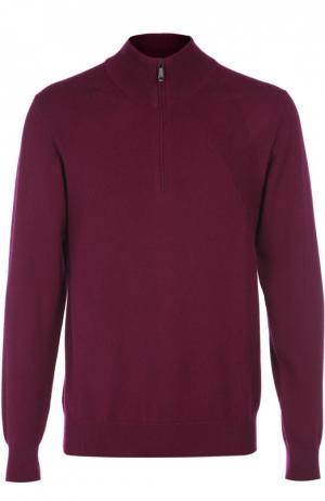 Кашемировый свитер с воротником на молнии Brioni. Цвет: фиолетовый