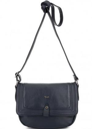 Кожаная сумка с откидным клапаном Bruno Rossi. Цвет: синий