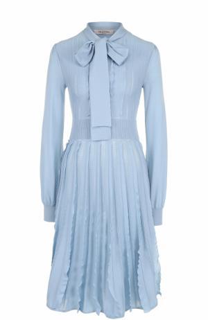 Вязаное шерстяное платье-миди Valentino. Цвет: голубой