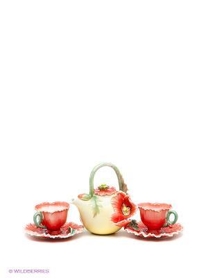 Чайный набор Маки Pavone. Цвет: красный, светло-желтый