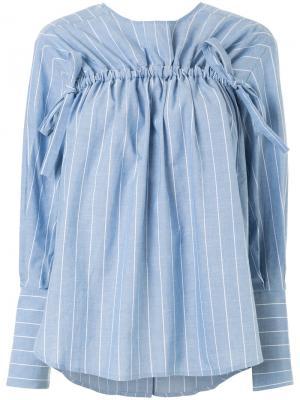 Полосатая рубашка с декоративной стяжкой Rejina Pyo. Цвет: синий
