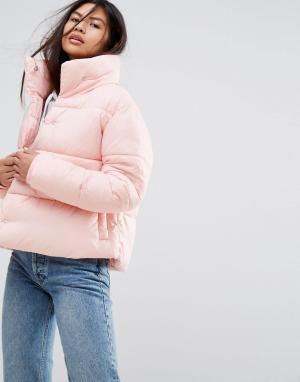 Puffa Оверсайз-куртка с высоким воротником. Цвет: розовый