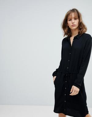 MbyM Платье-рубашка. Цвет: черный