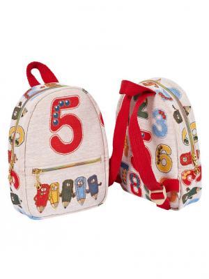 Рюкзак из водоотталкивающего гобелена Цифры Якимок. Цвет: светло-бежевый