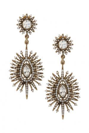Серьги с жемчугом и кристаллами Lisa Smith. Цвет: золотой
