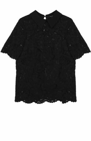 Кружевной топ с коротким рукавом и отложным воротником Tara Jarmon. Цвет: черный