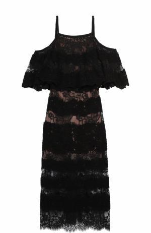 Кружевное платье-миди с открытыми плечами Elie Saab. Цвет: черный