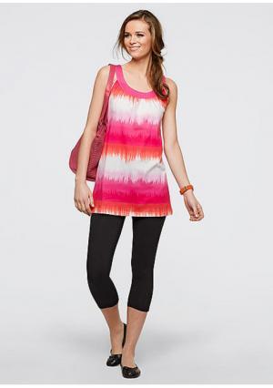 Комплект: платье+легинсы-капри. Цвет: ярко-розовый/белый с рисунком+черный