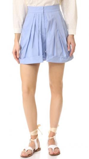 Мини-шорты со складками Vika Gazinskaya. Цвет: голубой