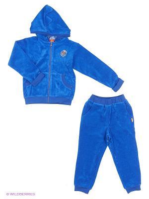 Спортивный костюм (кофта на замке с капюшоном, штаны). Goldy. Цвет: синий