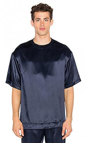 Свободная футболка из шелка и фланели Opening Ceremony. Цвет: синий