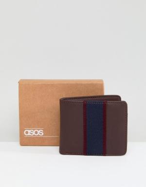 ASOS Коричневый бумажник с темно-синей вставкой. Цвет: коричневый