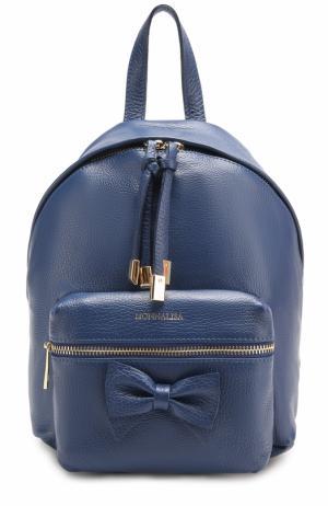 Кожаный рюкзак с бантом Monnalisa. Цвет: темно-синий