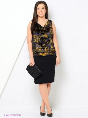 Блузка BERKANA. Цвет: черный, фиолетовый, желтый