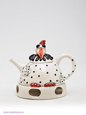Заварочный чайник Курица Клементина Blue Sky. Цвет: белый, черный, красный