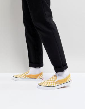 Vans Желтые классические кеды-слипоны в шахматную клетку VA38F7QCP. Цвет: желтый