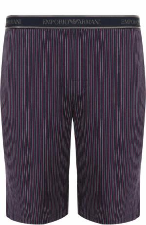 Хлопковые домашние шорты с поясом на резинке Emporio Armani. Цвет: бордовый