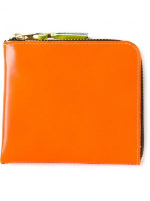 Двухцветный кошелёк на молнии Comme Des Garçons Wallet. Цвет: жёлтый и оранжевый