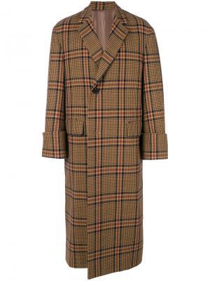 Пальто с принтом в клетку Wooyoungmi. Цвет: коричневый