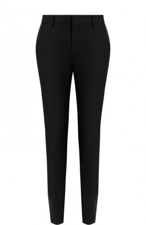 Шерстяные укороченные брюки с карманами Saint Laurent. Цвет: черный