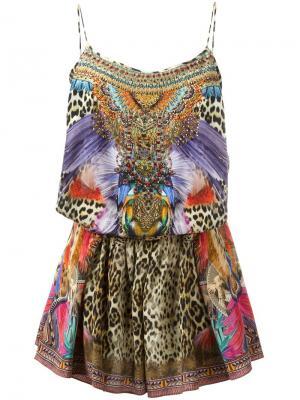 Мини-платье с блестящей отделкой Camilla. Цвет: многоцветный