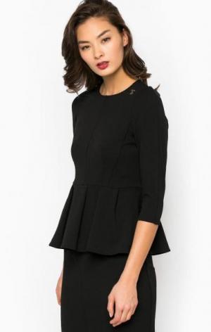 Блуза с баской черного цвета POIS. Цвет: черный