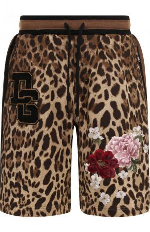 Хлопковые шорты с анималистичным принтом и вышивкой Dolce & Gabbana. Цвет: коричневый