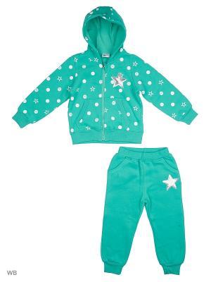 Толстовка с капюшоном и брюки Sago Kids i Ant Domain. Цвет: бирюзовый