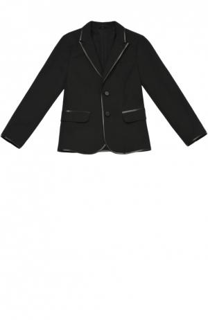 Однобортный пиджак из эластичного хлопка Giorgio Armani. Цвет: черный