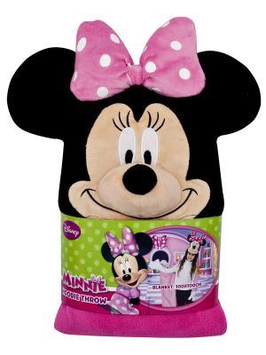 Плед с капюшоном Minnie Mouse (Минни Маус), размер 100х100 см Disney. Цвет: черный,бежевый,розовый