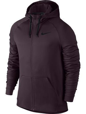 Толстовка NK THRMA HOODIE FZ Nike. Цвет: бордовый