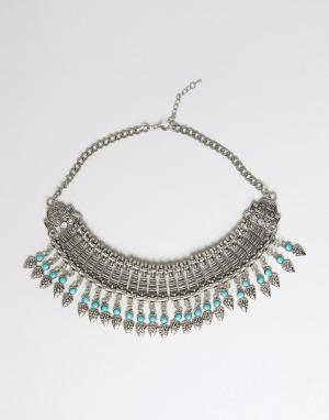 Raga Броское ожерелье с бахромой. Цвет: серебряный