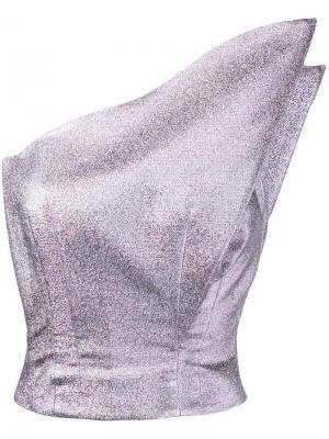Металлизированный топ на одно плечо Vika Gazinskaya. Цвет: розовый и фиолетовый